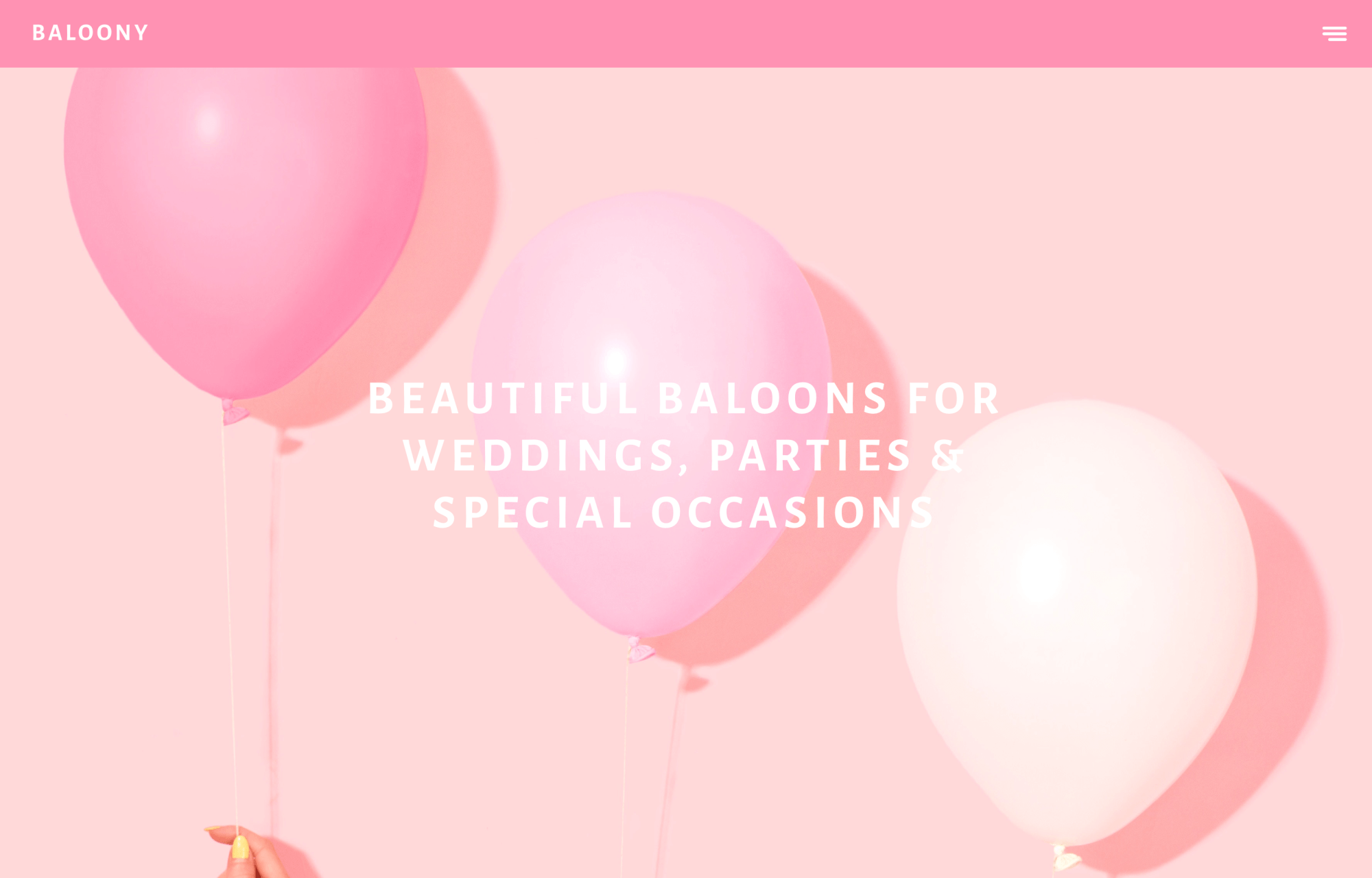 Modular Orange Website for Baloony a wedding baloon and party company