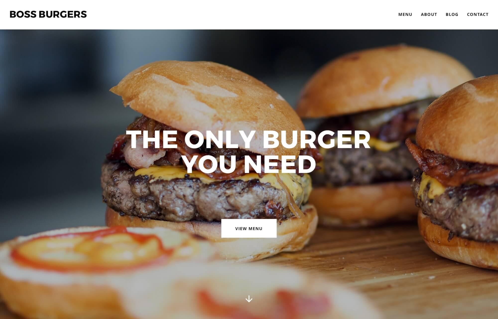 Modular Orange Website for Boss Burgers