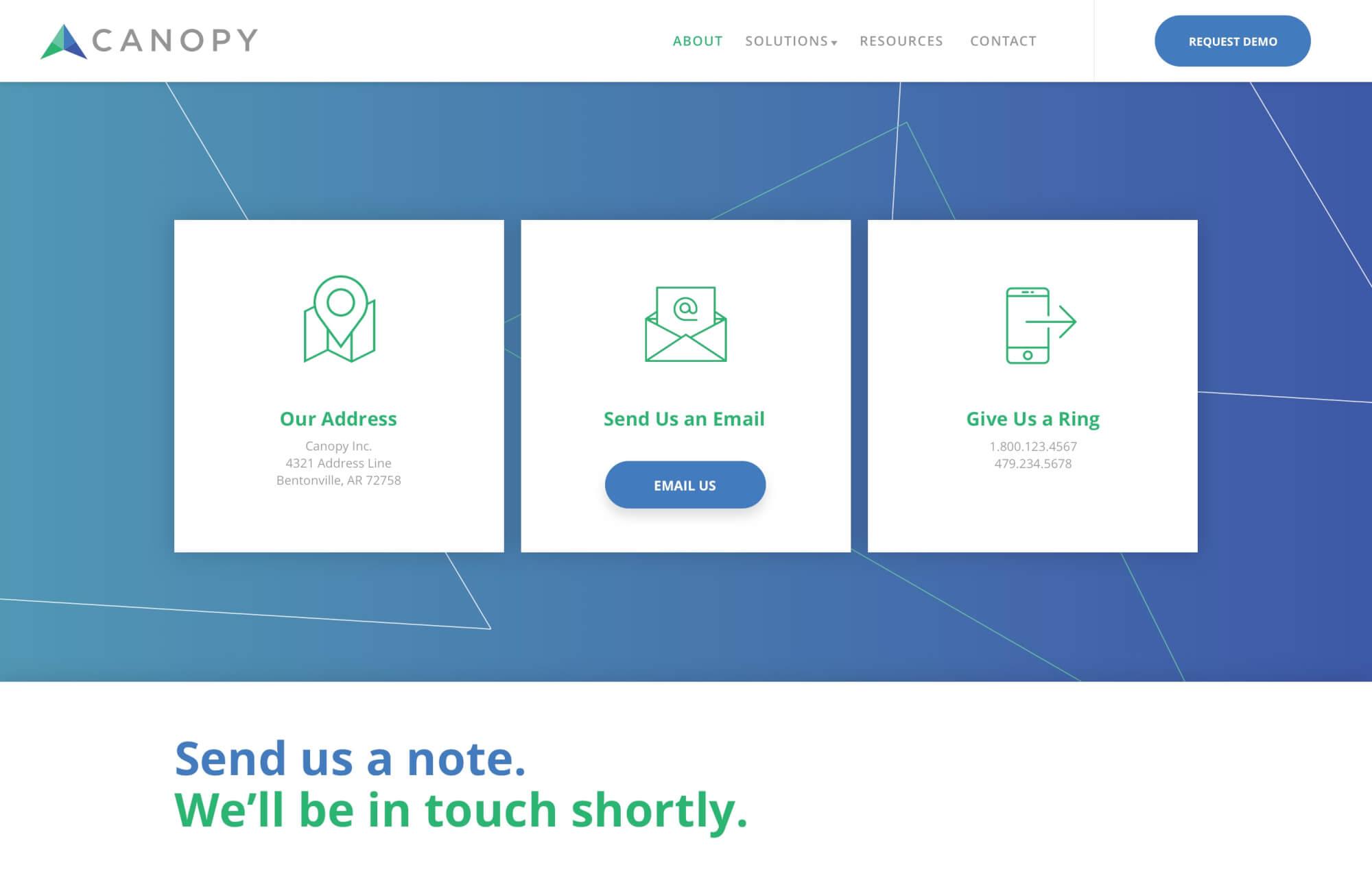 Modular Orange Website for Canopy