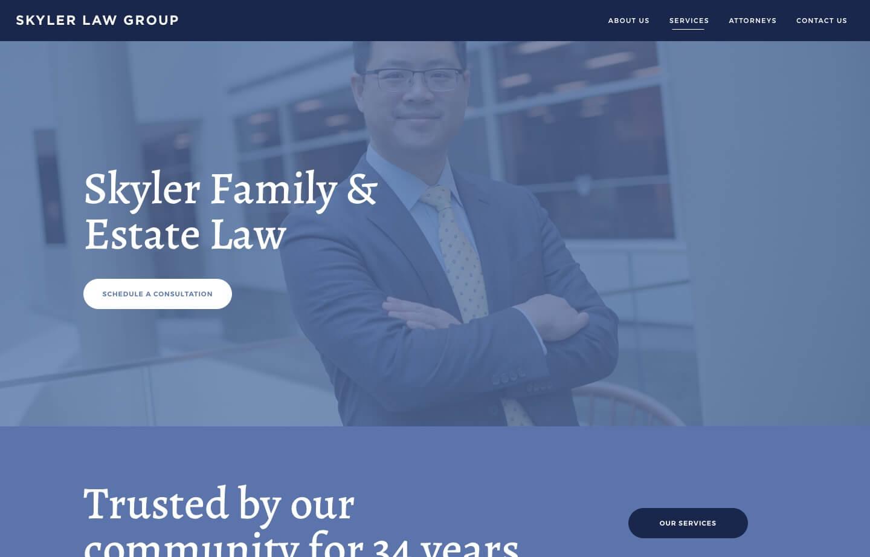law firm website skyler law group