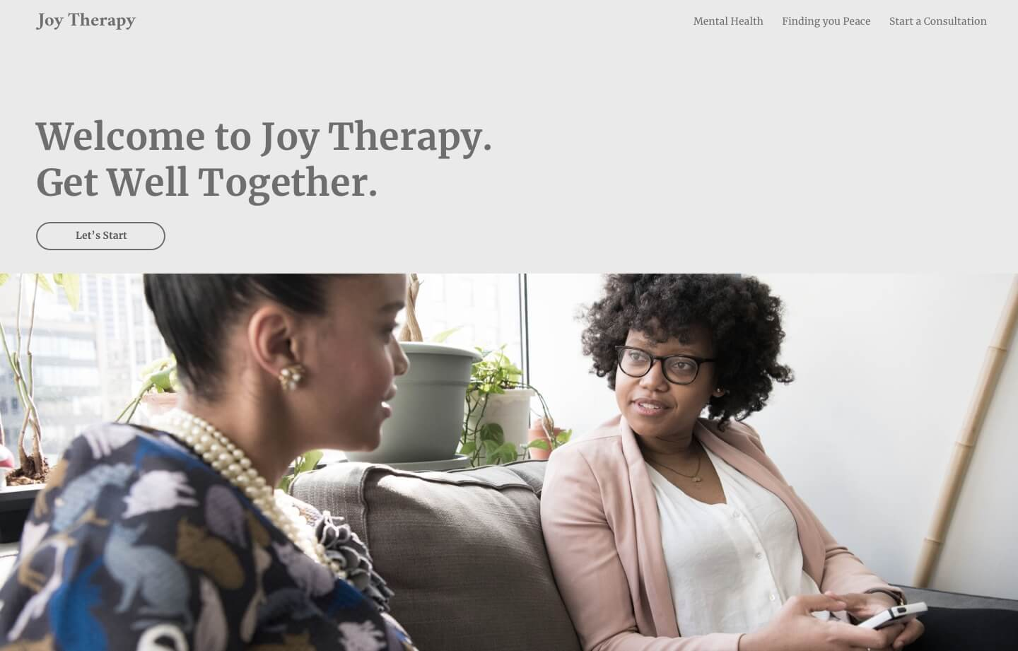 Joy Therapy website for  group counseling and therapy