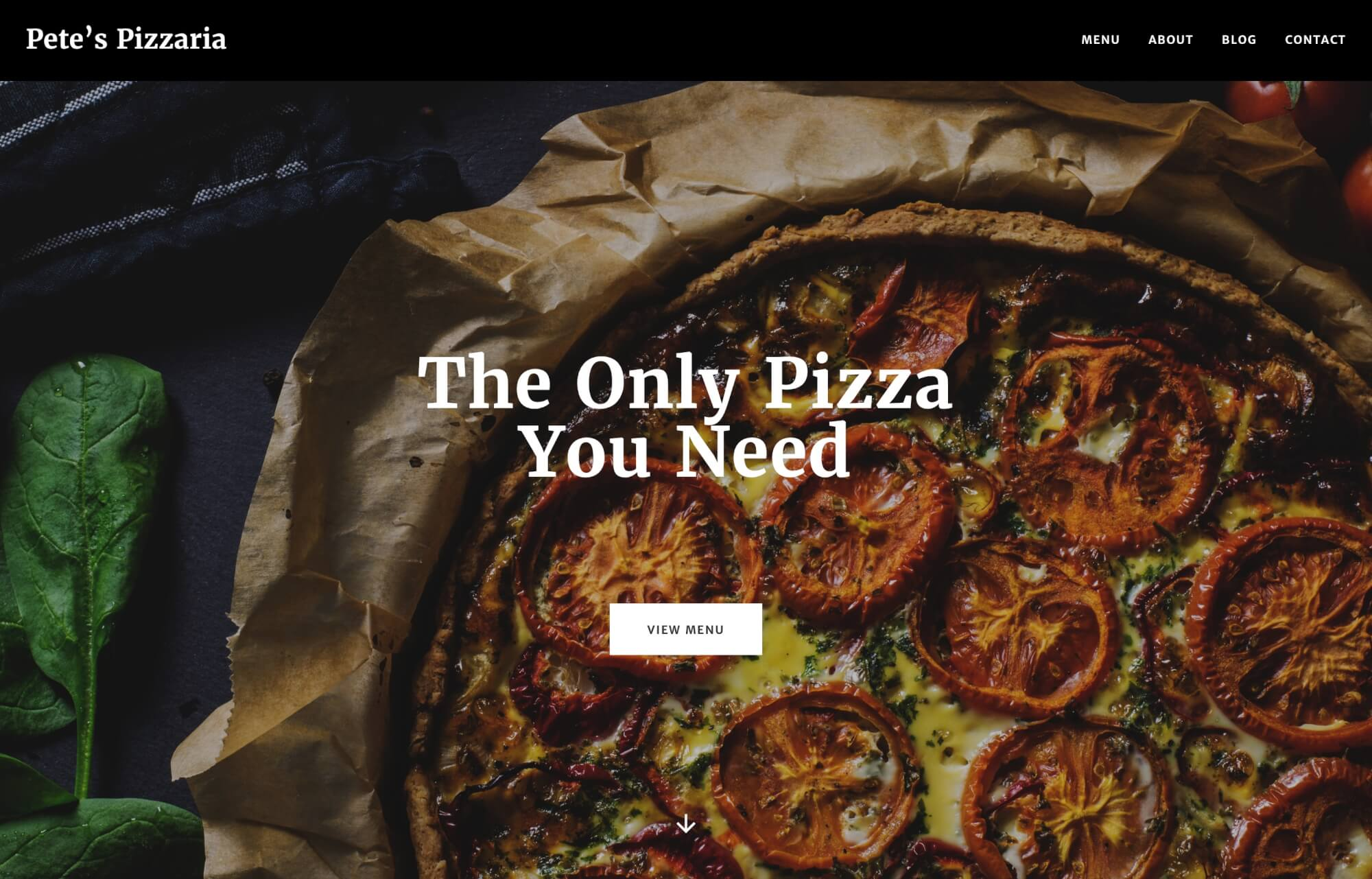 Modular Orange Website for Pete's Pizzaria - the only pizza you need