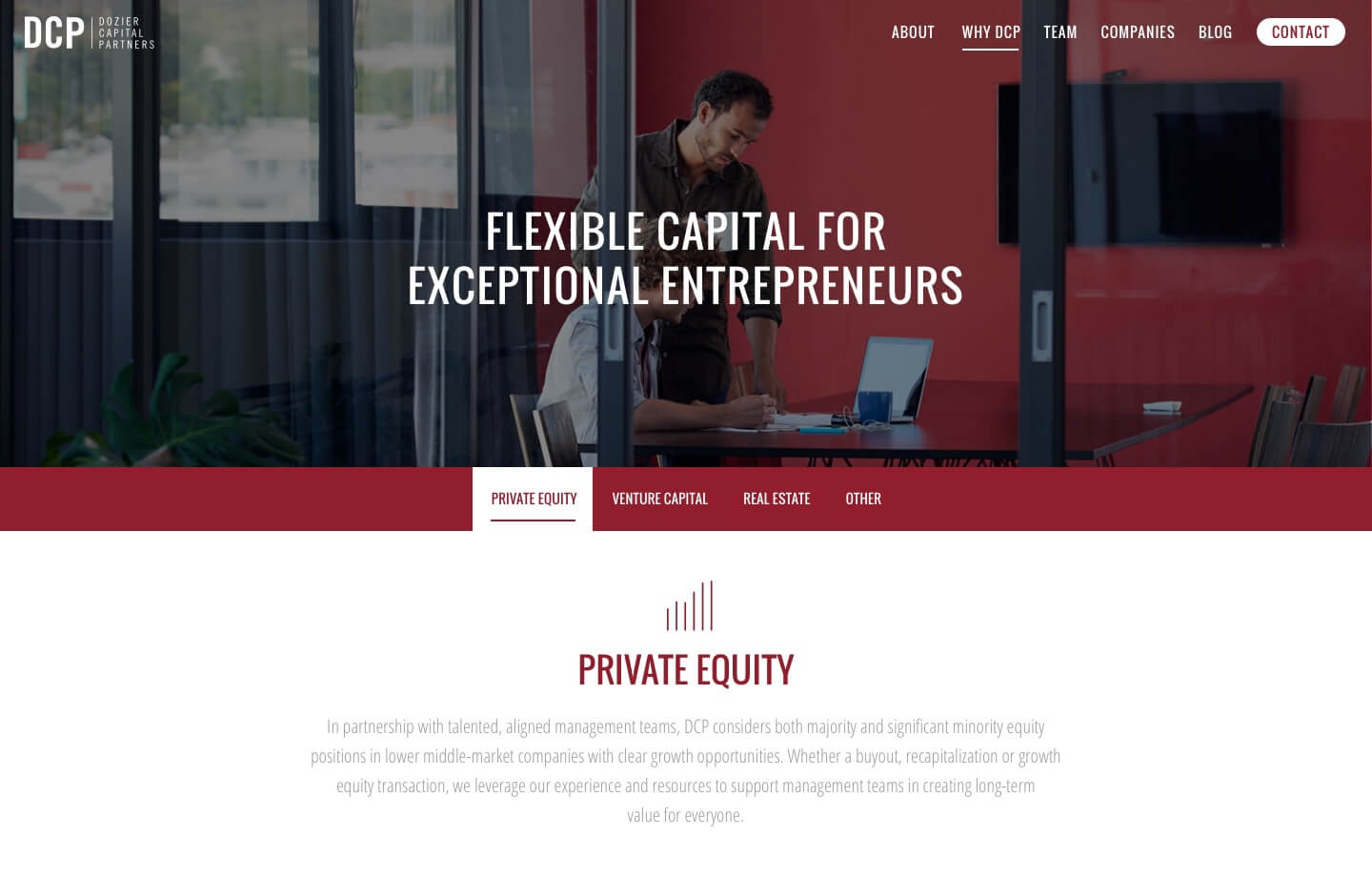 website for private equity and financial DCP partners