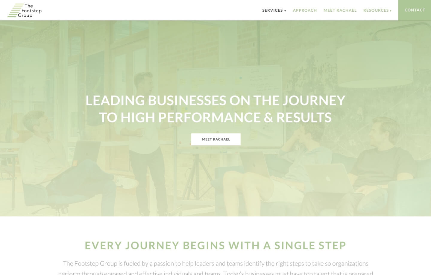 The Footstep Group consulting website Leading businesses on the journey to high performance and results