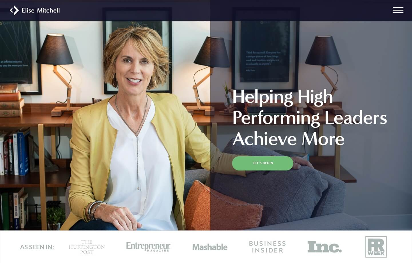 business coaching and consulting website for Elise Mitchell