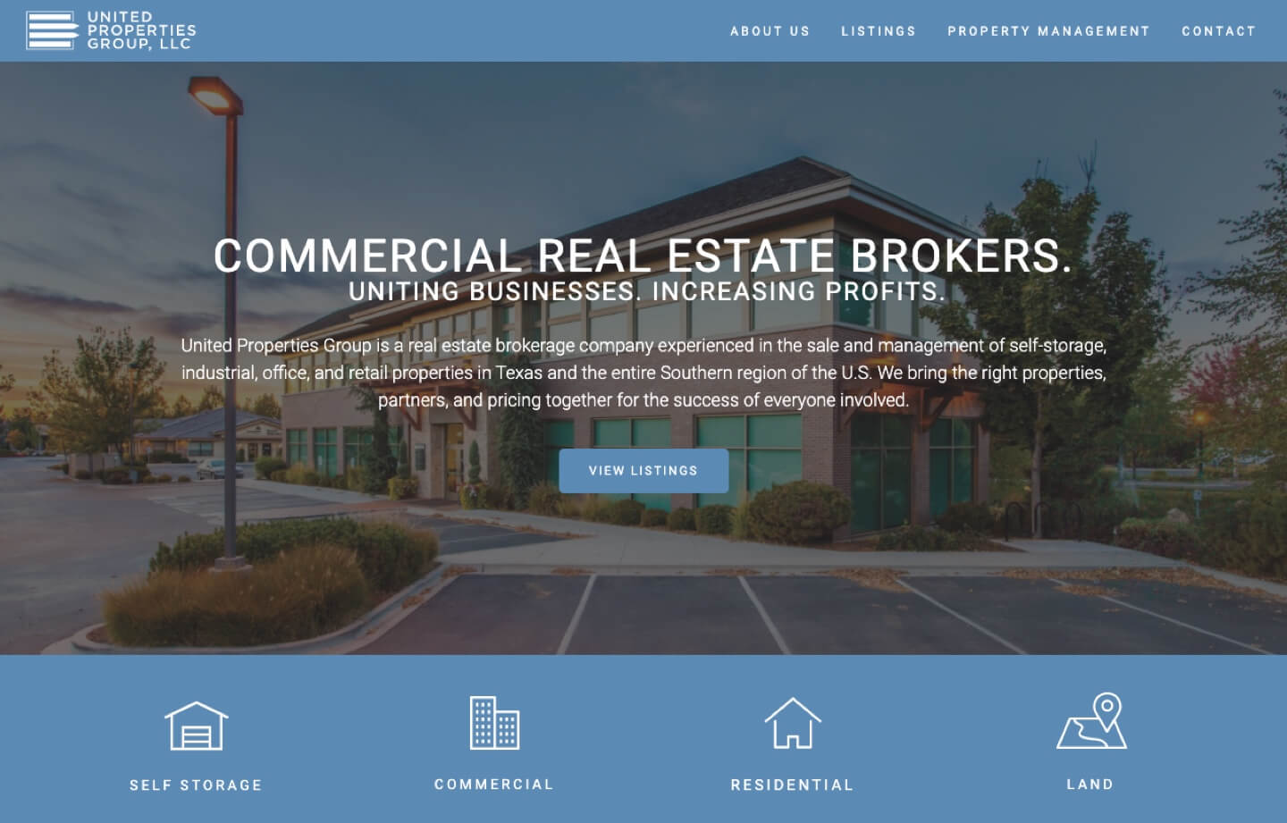 Real estate and brokerage website for united properties group LLC
