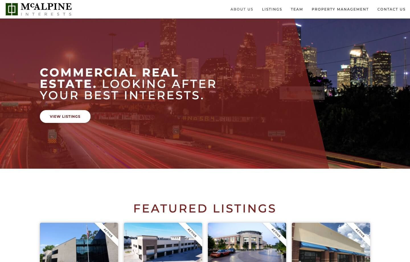 Real estate and brokerage and property management website for McAlpine Interests