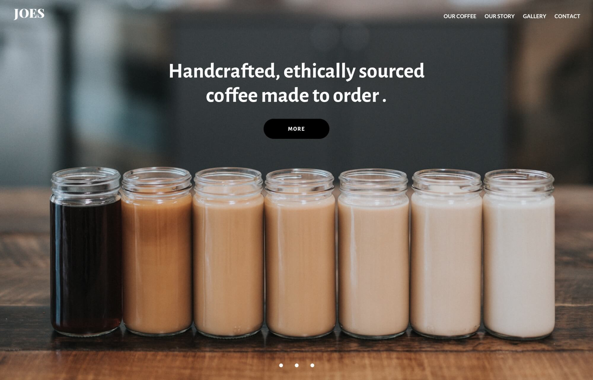 Modular Orange Website for for Joes handcrafted and ethically sourced coffee made to order
