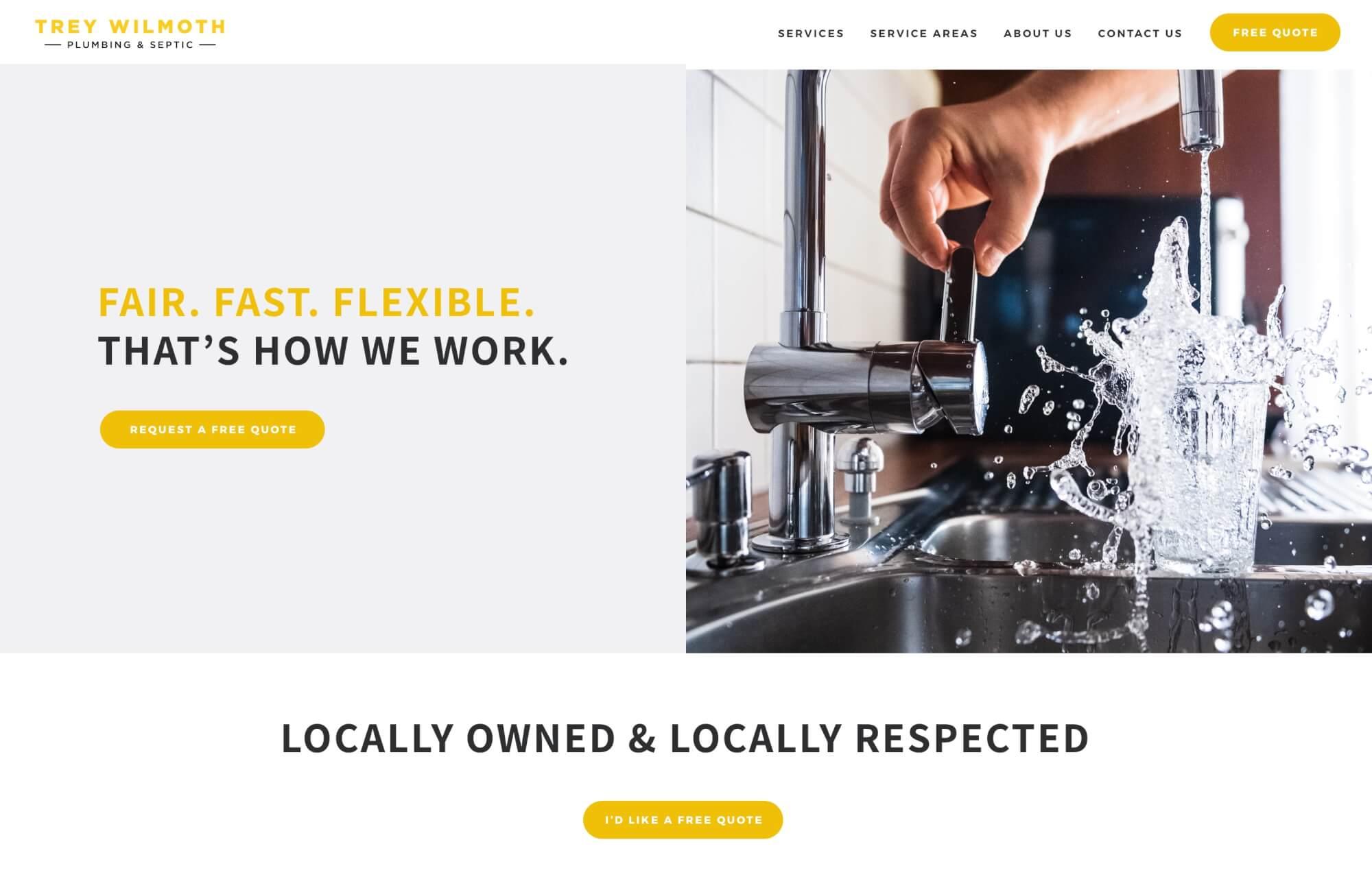 Modular Orange Website for Trey Wilmoth Plumbing and Septic