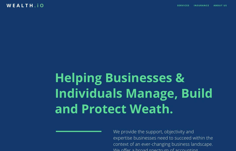 wealth management website for wealth.io